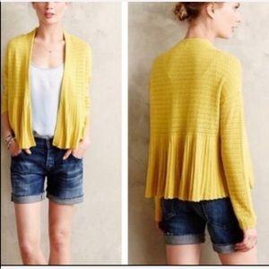Moth Yellow Pointelle Peplum Cardigan Sweater L